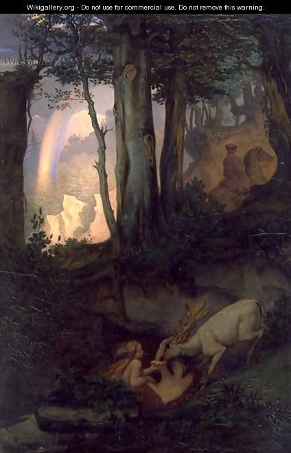Waternymphs watering a stag, c.1844-47 - Moritz Ludwig von Schwind - WikiGallery.org, the largest gallery in the world