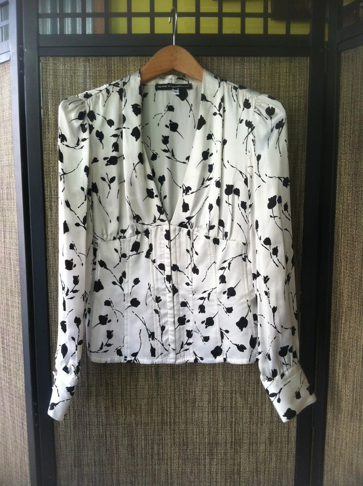Yoko - Silk, black japanese blossom motif on corset boned blouse - Color Cream/Black - Sizes Small & Medium - Price $129.00 - Call Us: 646-284-5049