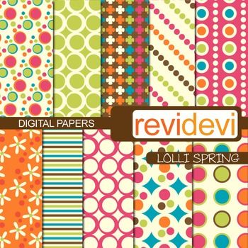 Patterned papers in fun colors. Set of 10.  These digital papers are great for teachers and educators for creating their school and classroom projects such as for background for bulletin, announcement, learning worksheet, craft materials, cards, paper goods, and for more fun projects.