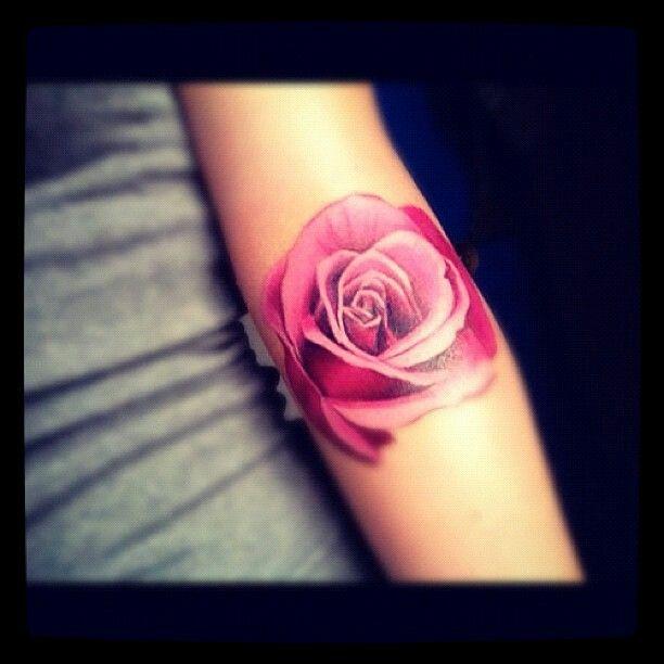 Pink rose tattoo Ava's birth month flower