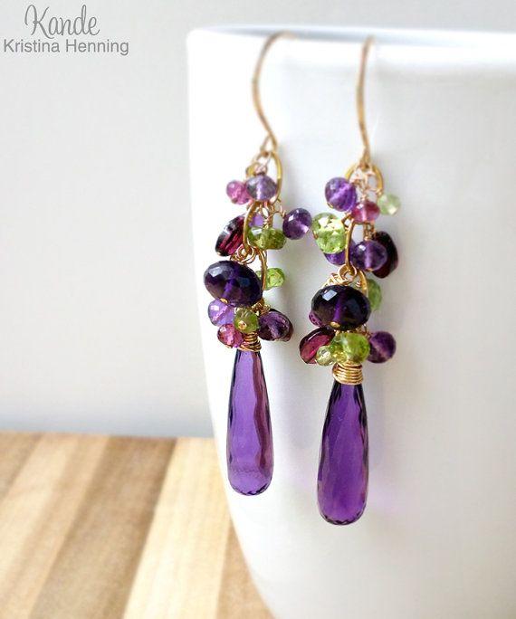 Vacaciones venta pendientes amatista Peridot oro púrpura