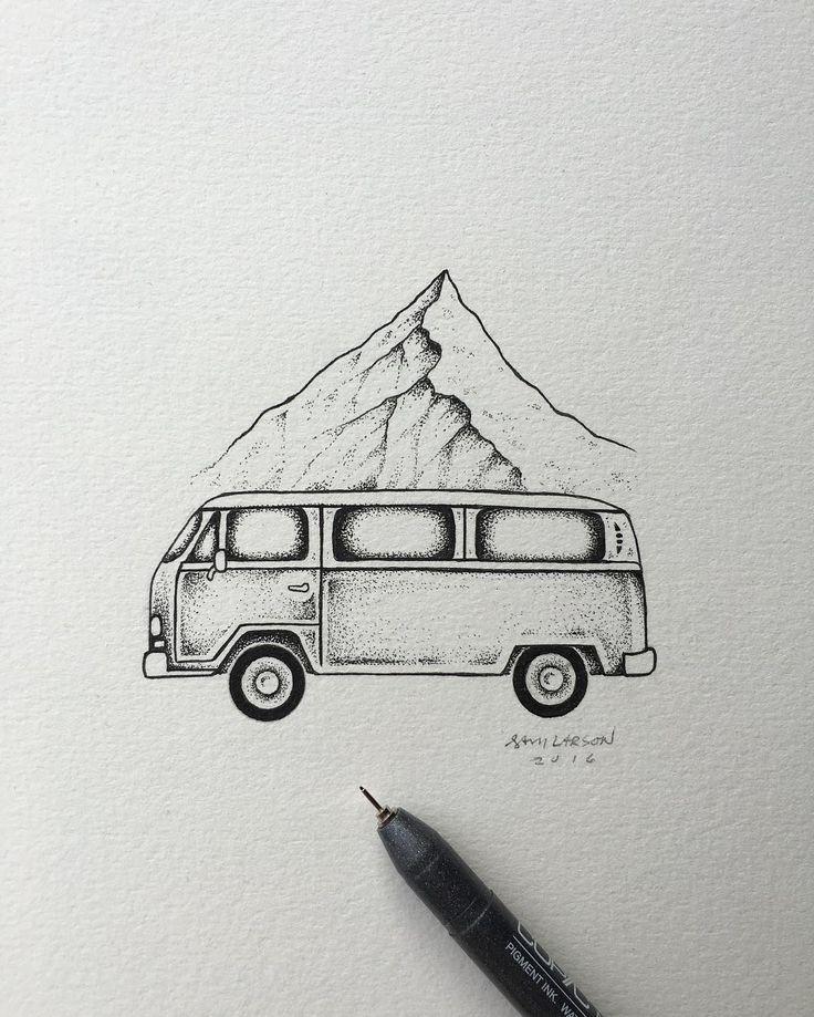 Detailaufnahme vom Mittwochsposten. #art #illustration #vw #mountain von samlarson