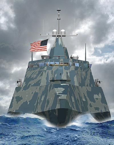 combat ship USS Freedom...exploding robo fishies (schools) of painted fishies that mimic fish ,cluster missile(when launched looks like middle blew up jest after launched ....would be a nice touch ... So sailer on deck wouldn't see exploding homeing fish