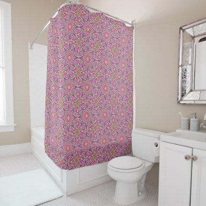 Techno Colors Purple Vintage  Shower Curtain - cyo diy customize unique design gift idea