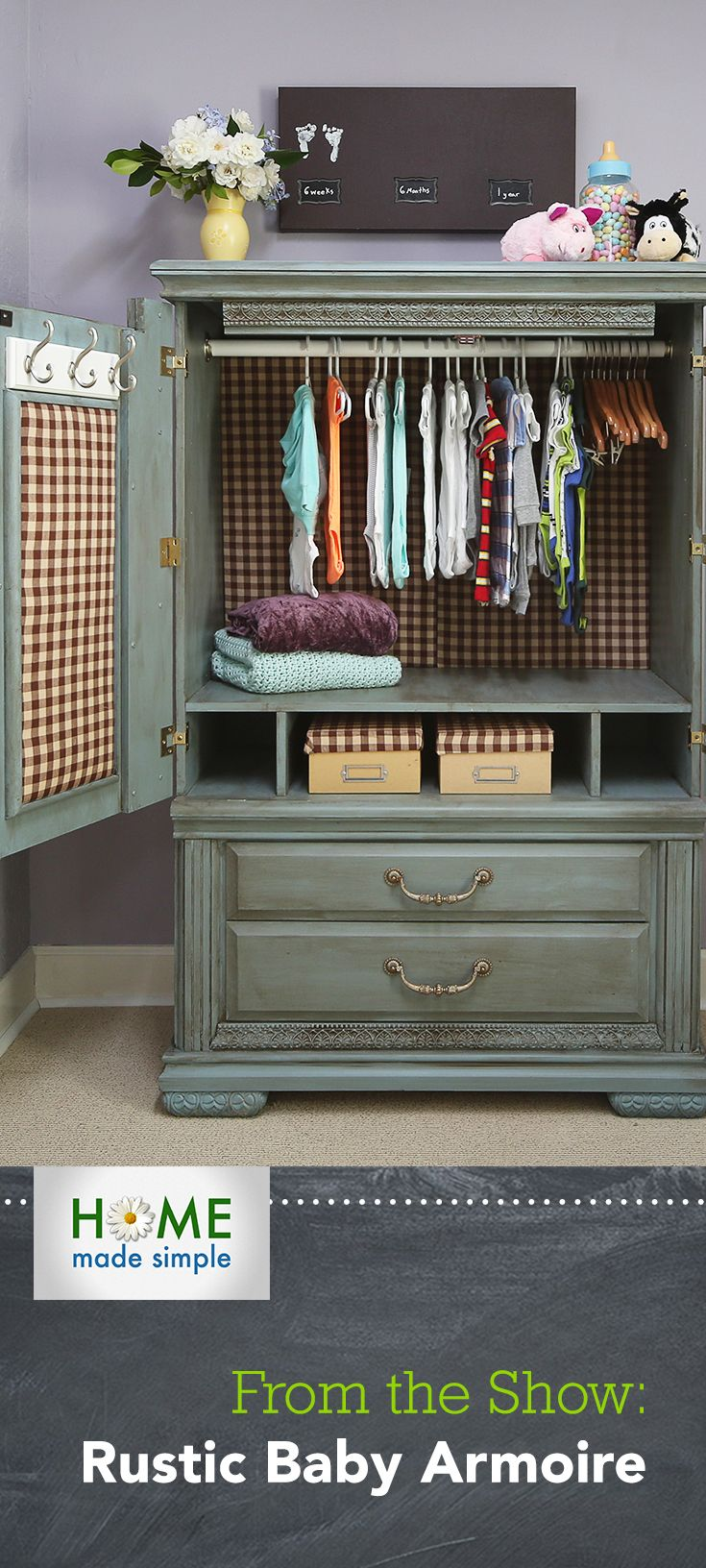 Add a shabby chic touch to your nursery with our step-by-step instructions for transforming an old entertainment center into a baby armoire. For more DIY decorating ideas, watch Home Made Simple, Saturdays at 9am/8C on OWN!