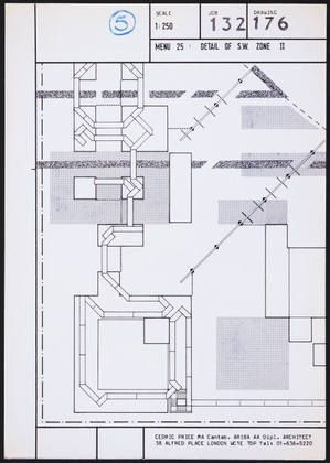 Cedric Price. Generator Project, White Oak, Florida, Plan of Menu 25, Ddetail of S.W. Zone II. 1978-80