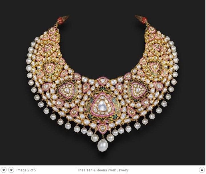 Pink Minakari and Kundan Necklace - Nayaab Jewels Jaipur