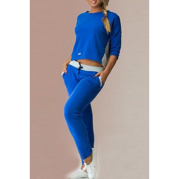 Trendy Color Block Back Zippered 3/4 Sleeve T-Shirt and Elastic Waist Pants Twinset For Women