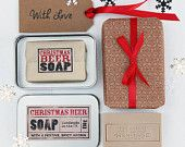 Christmas Beer Moisturising Soap in a metal Tin, stocking filler, gift for husband, gift for grandad.