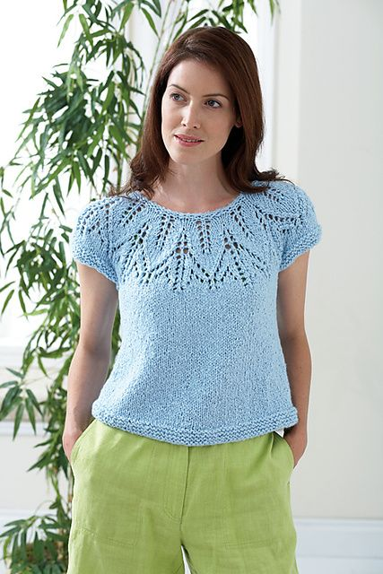 Leaf Top by Bernat. I knit mine with superwash green silk, using this pattern for the yoke and Lace Leaf pattern by Laura Todd, published in Spindrift Designs (http://www.ravelry.com/patterns/library/lace-leaf-hat-2) for the hem.