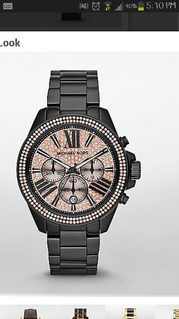 Black and rose gold michael kors watch