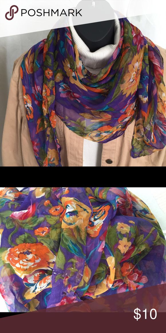 "Floral print chiffon scarf Floral print chiffon scarf - Size: 41"" x 42"" Accessories Scarves & Wraps"