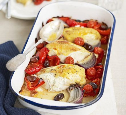 Mediterranean chicken tray bake recipe - Recipes - BBC Good Food
