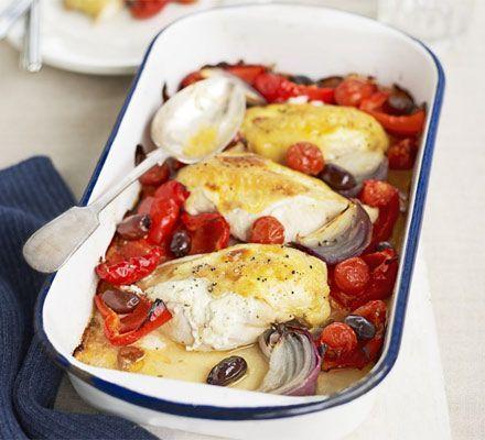Mediterranean chicken tray bake
