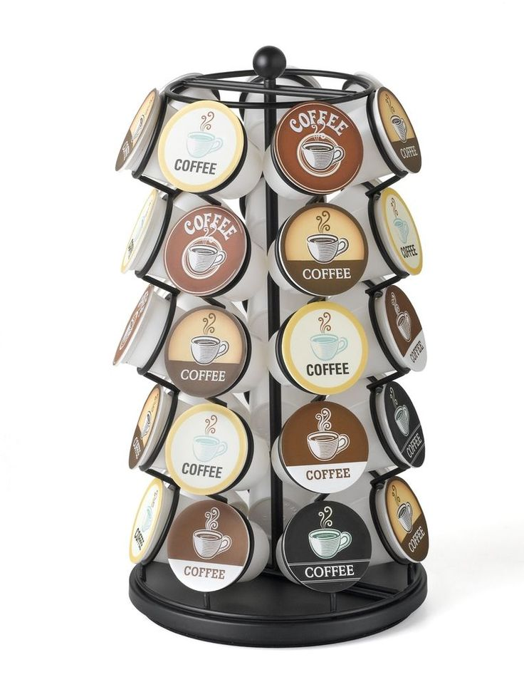 Kitchen Pantry Carousel for single serve coffee pods elegantly displays all your favorite single serve coffee pods. #coffee