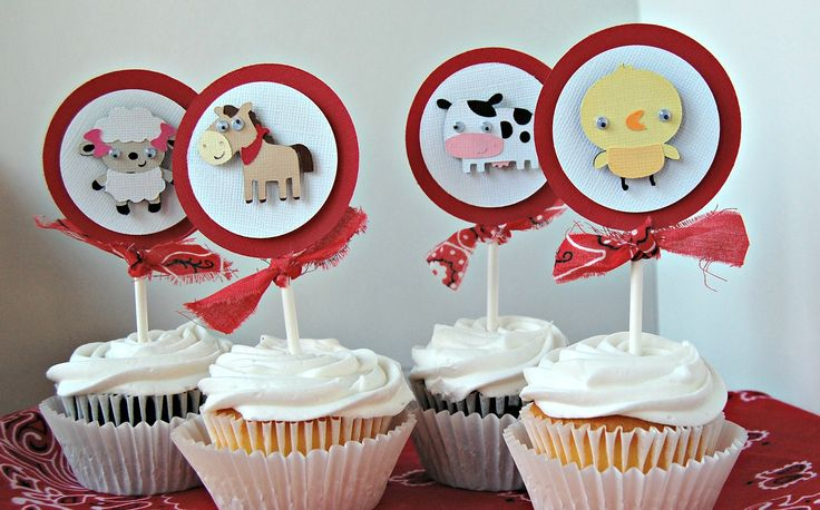 Farm Themed Birthday Party Cupcake Toppers (set of 12)