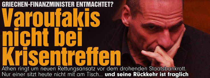 Finanzminister entmachtet? | Varoufakis nimmt nicht mehr an Krisentreffen teil Athen ringt um einen neuen Rettungsansatz vor dem drohenden Staatsbankrott. Nur einer sitzt heute nicht mehr mit am Tisch – und seine Rückkehr ist fraglich http://www.bild.de/politik/ausland/yanis-varoufakis/finanzminister-nicht-bei-krisentreffen-40155122.bild.html