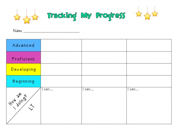 Tracking My Progress Chart for Students