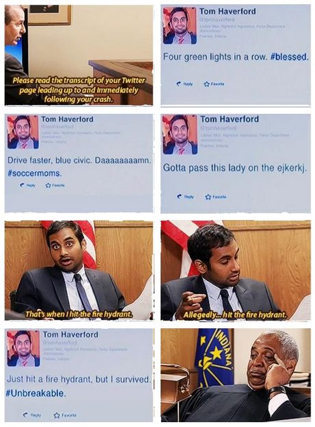 Texting and driving. Parks and Rec.