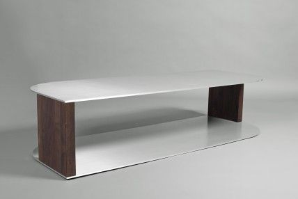 CTM610 Walnut and Aluminium Coffee Table
