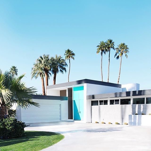 """Check it out! """"The Real Aqua Doors of Palm Springs, which reside in the Indian Canyons neighborhood in south Palm Springs, are pure eye candy!"""