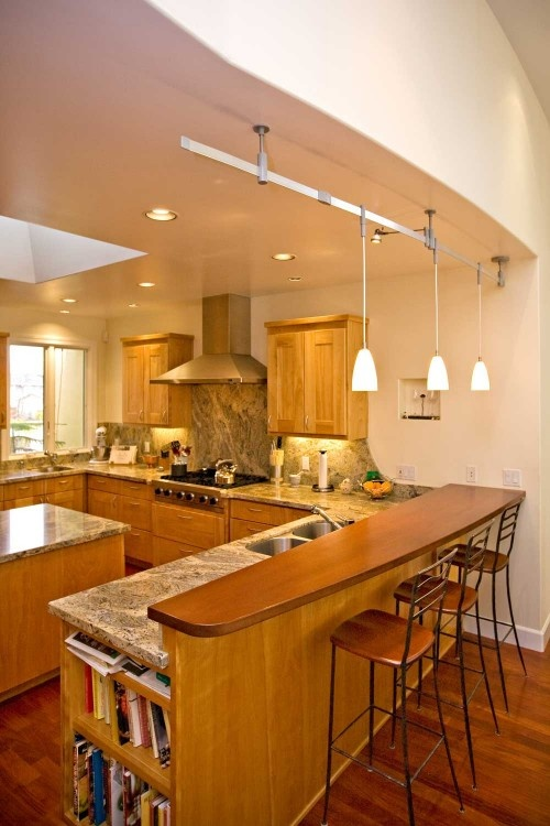 Peninsula With Granite Counter And Wood Bar Home Decorating And Organizing Ideas Pinterest