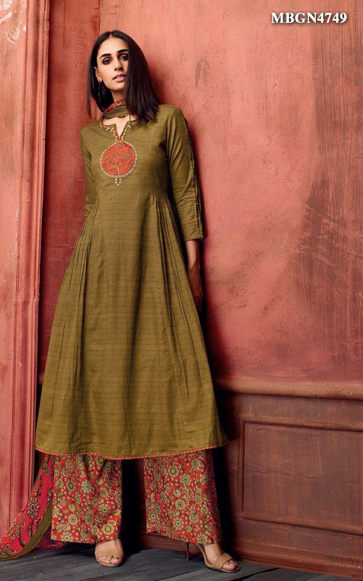 Olive Green Suit Set @ MeenaBazaar