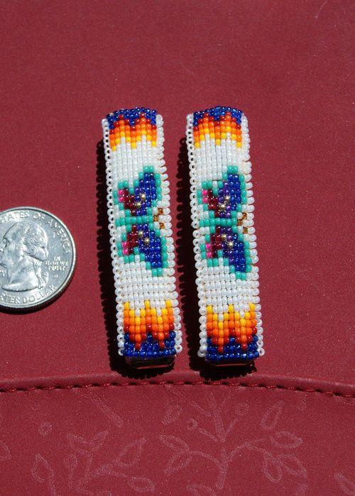 Theresa Hatathlie (Dine' Navajo)  Butterfly Beaded Barrettes  Deer Springs Creations on Etsy