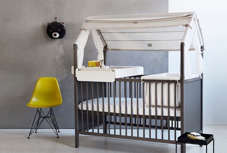 Stokke, collection Stokke® Home™ Something for the little ones. This cot becomes a comfy sofa where children can entertain their little buddies, when slightly older. #designforkids #designbest #designbestmagazine