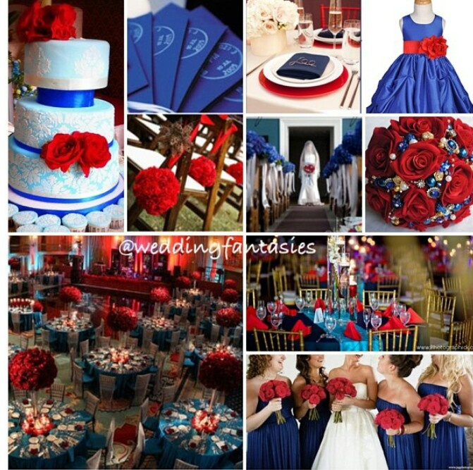 Royal Blue And Red Wedding