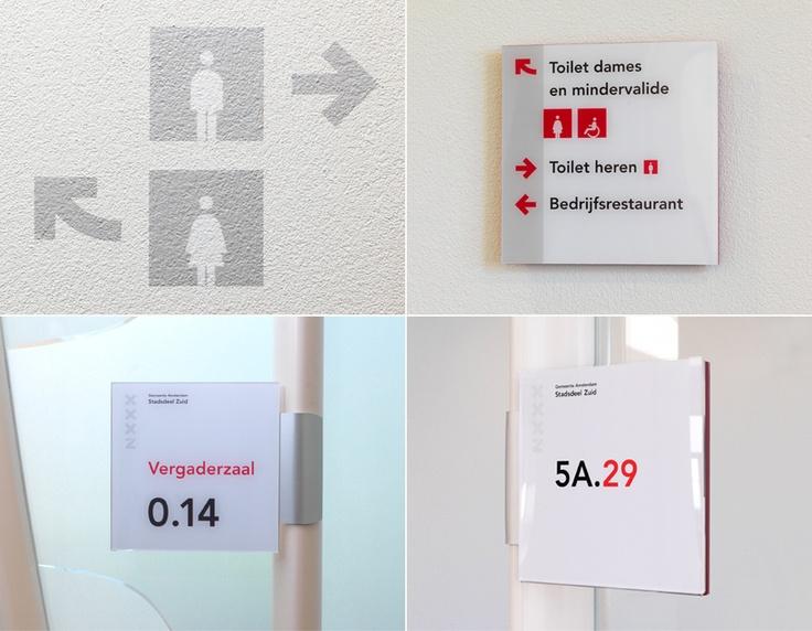 Etage-, toilet- en kameraanduiding Tripolis, Amsterdam Stadsdeel Zuid / bewegwijzering / 2011 - Ontwerp door Cascade - visuele communicatie Amsterdam