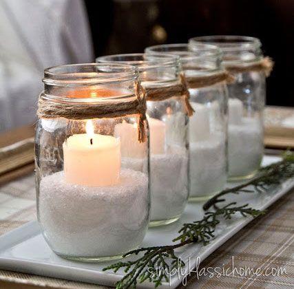 centrotavola fai da te natale candele barattolo vetro #centrotavola #natale #natalizi #tutorial #faidate #fai-da-te #fattoamano #decorazioni #addobbi #candele #barattolo #vetro #bianche