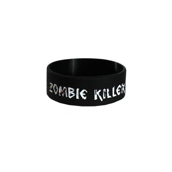Goodie Two Sleeves Zombie Killer Wristband ($6.05) ❤ liked on Polyvore featuring jewelry, bracelets, accessories, wristbands, zombie, rock jewelry, bracelet jewelry, goodie two sleeves, pandora bracelet and jade bangle