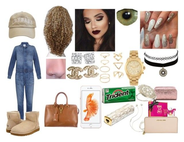 """Untitled #79"" by thuglife2k14 ❤ liked on Polyvore featuring Current/Elliott, UGG Australia, Forever 21, Chanel, Michael Kors, Charlotte Russe, Yves Saint Laurent, Molami, MICHAEL Michael Kors and Kate Spade"