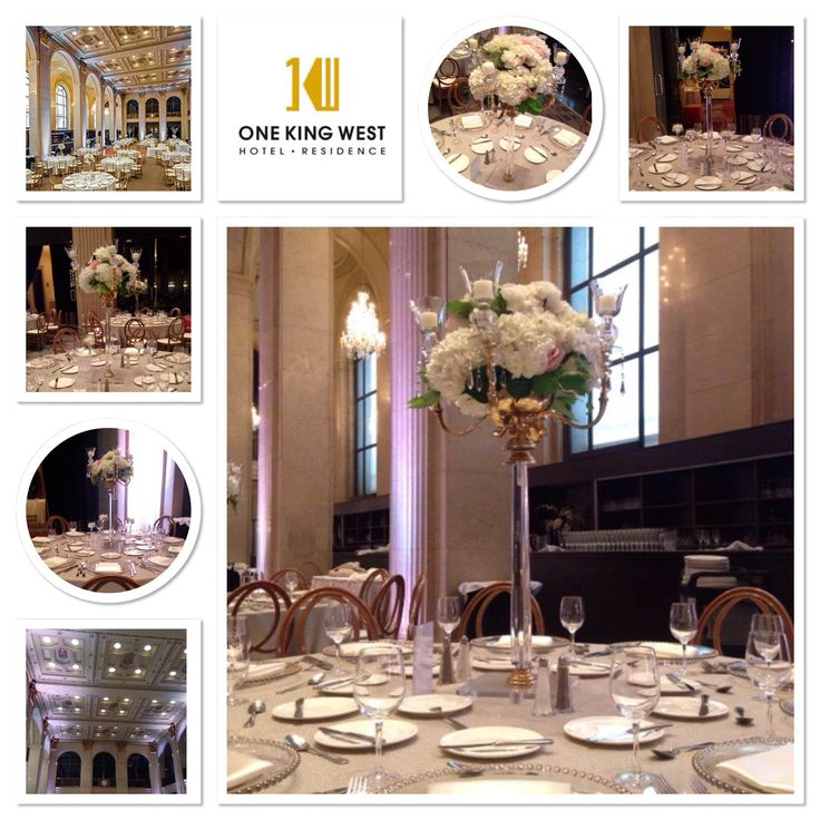Stunning Floral arrangement with our Gold Candelabras at One King West Hotel in Toronto.