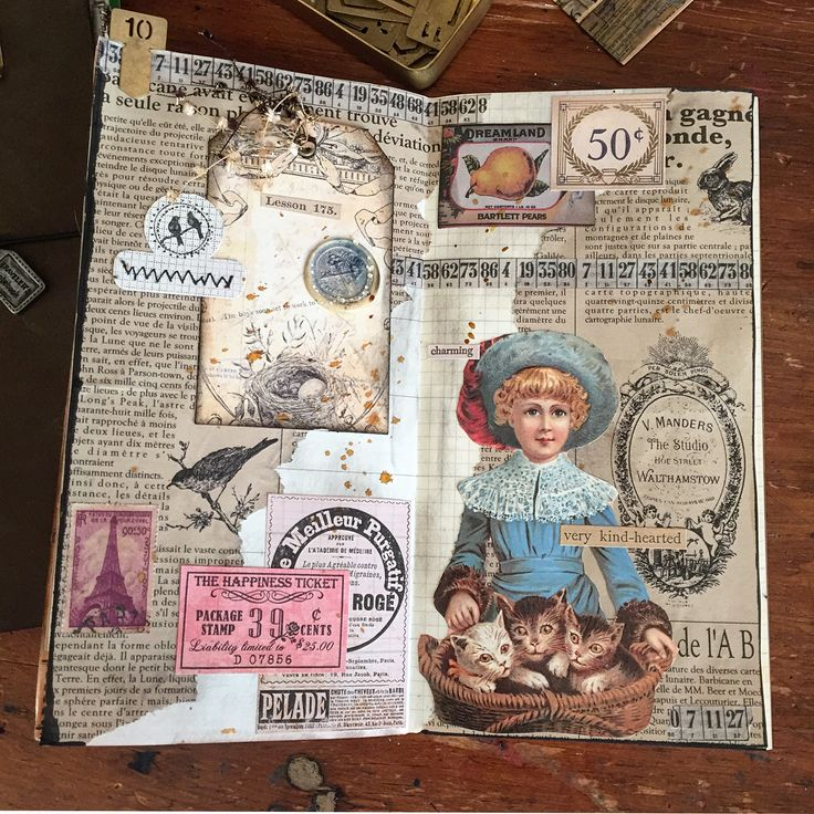 """Week 10/52(swipe for closeup) I've been saving this girl for at least 18 months.  Time to let her goBits and pieces from Japan, Denmark, and Florida friends  If you are in the path of this storm, be safe and stay warm  Latest weather channel forecast is 15""""..........  .  .  .  #weeklycollage #vintagecollage #collage #collagejournal #vintage #vintageephemera #midoritravelersnotebook #travelersnotebook #artjournalpage #cutandpaste #paperlover #bitsandpieces #travelersnotebookoliveedition ..."""