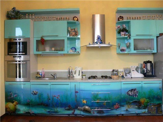 кухня цвета морской волны