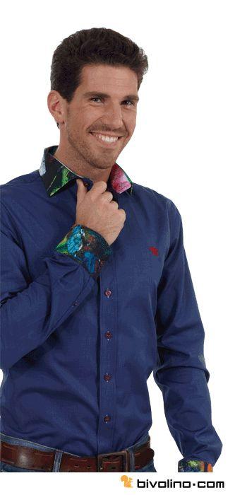 Custom printed shirts. This Bivolino custom printed shirt is made in a dark blue 2ply cotton. Both cuffs and collar are digitally printed. Bivolino Arty shirts.