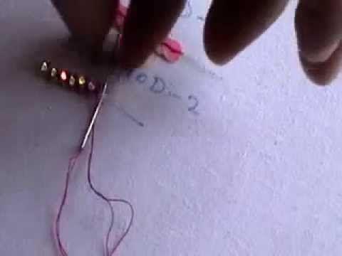 HAND EMBROIDERY- How to sew a sequins (outline stitch) method-2 )bordados de lentejuelas - YouTube