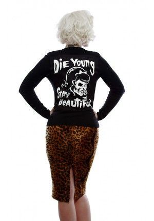 """Psychobilly Style  """"DIE YOUNG STAY BEAUTIFUL""""  Cardigan Sweater by #Lucky13"""
