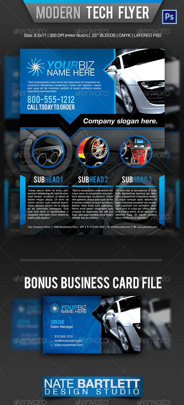Modern Tech Flyer Template. This fully layered PSD flyer template is fully editable with Adobe Photoshop version CS3 or later. Cost $6.