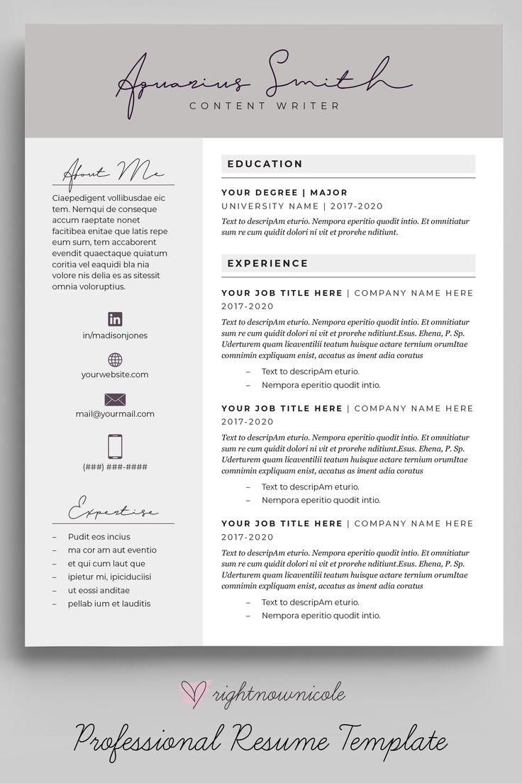 Slate Gray Feminine Resume Template Simple Resume Design