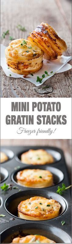 Mini Potato Gratin (Muffin Tin) – great party food, breakfast with eggs or as a side for a fancy dinner. Freezer friendly and easy to make