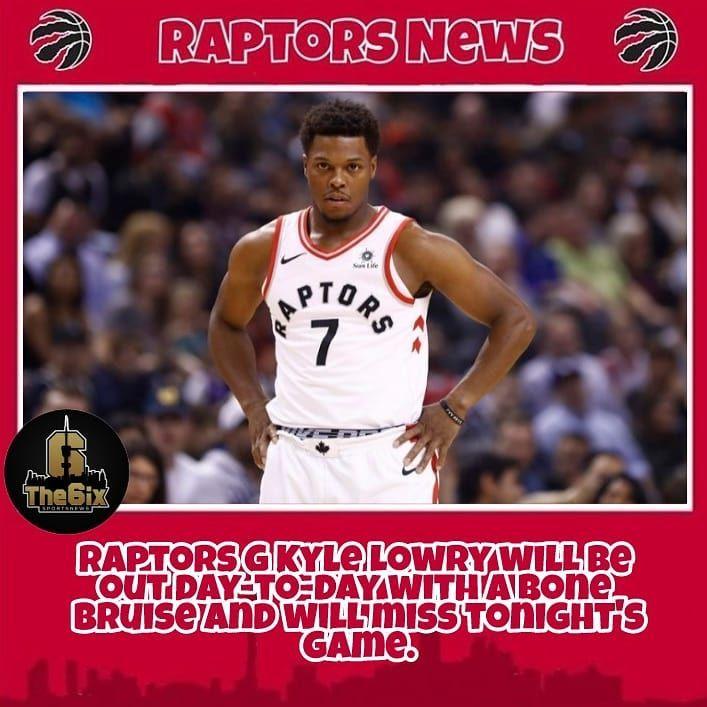 REPORT: Raptors PG Kyle Lowry will be out day-to-day with a Bone bruise and will miss tonight's game against the Miami Heat. . . . . #warriors #nba #basketball #nyknicks #knicks #raptors #torontoraptors #celtics #bostonceltics #sixers #philadelphiasixers #nets #lbj #playoff #heatnation #letsgoheat #ilovethisgame #slam #court #myteam #rockets #ballers #buckets #baloncesto #streetball #ballup #nbamemes #pelicans #hornets #mavericks