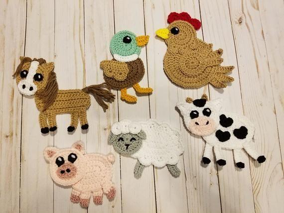Barn Yard Pals Applique Pack – Häkelanleitung nur – Farm Animals – Cow – Horse – Pig – Sheep – Duck – Hen – Häkelanleitung