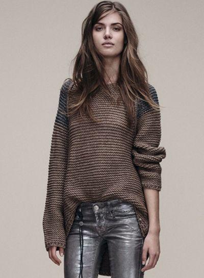 Raglon Color Block Loose Round Neck Sweater - OASAP.com