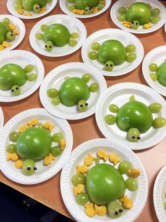 Found this adorable idea on Pinterest with no source and had to share! These would be fun to make for the kids during an ocean theme unit or just for fun! Ingredients: Green apples Green grapes Goldfish crackers Mini chocolate chips Frosting Slice a green apple in half as well as grapes then lay them …