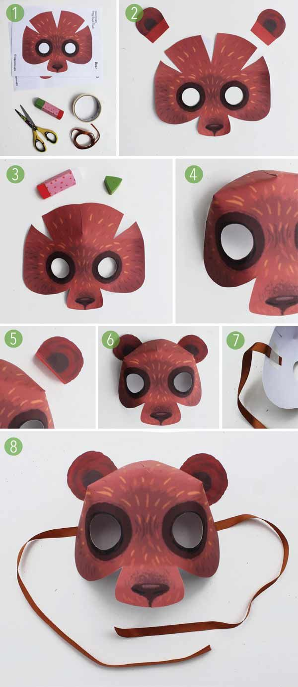 Easy To Make Diy Homemade Bear Costume And Printable Paper Mask Template +  Instructions