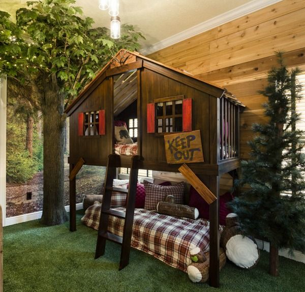 This vacation home rental in Orlando has fun theme rooms that kids will love, including this one with a tree house bunk bed.