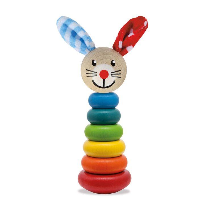 Stapel de 6 ringen op de houder, plaats het hoofdje bovenop en zie een vrolijk dier verschijnen. Dit traditionele stapelspel is gemaakt van prachtig afgewerkt hout in heldere kleuren. Afmeting: lengte 18 cm. - Eichhorn Baby Stapelspel Dier, 7dlg.